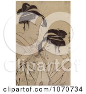 Royalty Free Historical Illustration Of Two Asian Women With A Scroll