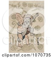 Royalty Free Historical Illustration Of Two Of The Seven Lucky Gods Daikoku And And Fukurokuju Engaged In A Sumo Wrestling Match