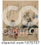 Royalty Free Historical Illustration Of Two Geisha Women And A Child At A Tea Party