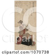 Geisha Woman Sitting On A Trunk And Holding A Fan
