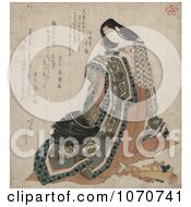 Royalty Free Historical Illustration Of A Japanese Woman Holding A Garment A Folding Fan At Her Feet