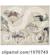 Royalty Free Historical Illustration Of Six Folding Hand Fans With Landscape Scenes