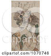Royalty Free Historical Illustration Of A Japanese Woman Carrying A Bundle Of Sticks On Her Head With A Tie That Resembles A Man