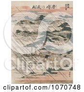 Royalty Free Historical Illustration Of Pouring Rain Over Lake Biwa And Karasaki Pine Japan by JVPD