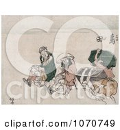 Royalty Free Historical Illustration Of Porters In Japan Carrying People And Trunks