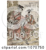 Royalty Free Historical Illustration Of A Japanese Couple Dancing In Celebration Of The New Year