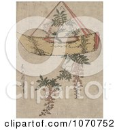 Royalty Free Historical Illustration Of A Wisteria Plant Growing In A Hanging Pot Shaped Like A Boat by JVPD