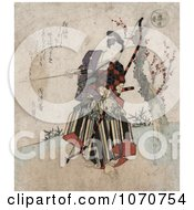 Royalty Free Historical Illustration Of A Japanese Man Practicing Archery Holding A Bow And Arrow