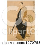 Royalty Free Historical Illustration Of A Japanese Man With A Hand Fan