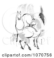 Royalty Free Historical Illustration Of A Pair Of Horses By A Willow Tree Black And White by JVPD