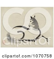 Royalty Free Historical Illustration Of A Beautiful Horse Laying Down by JVPD