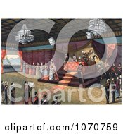 Royalty Free Historical Illustration Of The Wedding Receiption Of Crown Prince Yoshihito And Princess Kujo Sadako With Meiji Emperor Of Japan And Imperial Family Members In Attendance