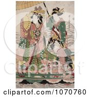 Royalty Free Historical Illustration Of Two Servants Fanning And Holding A Parasol Over A Princess On A Boat