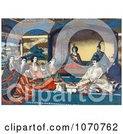 Royalty Free Historical Illustration Of Meiji Emperor Of Japan And Imperial Family Members Attending The Wedding Of Crown Prince Yoshihito And Princess Kujo Sadako by JVPD