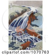 Royalty Free Historical Illustration Of Men Washing A Horse In The Stream At The Yoshitsune Umarai Waterfall At Yoshino In Washu by JVPD