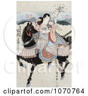 Royalty Free Historical Illustration Of Bando Mitsugoro A Japanese Actor Riding A Black Horse While Playing The Role Of Satsumanokami Tadanori by JVPD