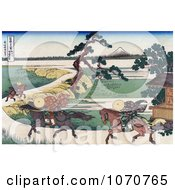 Royalty Free Historical Illustration Of Three People On Horseback Galloping Along The Sumida River With Mount Fuji In The Distance