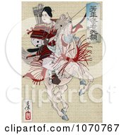 Royalty Free Historical Illustration Of A Female Japanese Warrior Han Gaku Armed With Arrows On The Back Of A Rearing Horse by JVPD