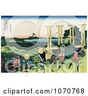 Royalty Free Historical Illustration Of Two People Fishing At A Weir In Senju Musa And One Person And Horse Transporting Rice Seedlings Rice Paddies And Mount Fuji In The Distance by JVPD
