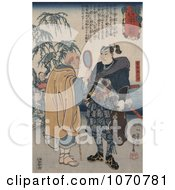 Royalty Free Historical Illustration Of A Man Looking At The Samurai Swordsman Miyamoto Musashi Through