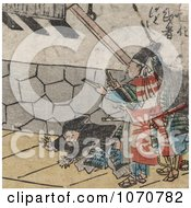 Royalty Free Historical Illustration Of A Samurai With Clappers Man With Rope And Man On The Ground