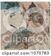 Royalty Free Historical Illustration Of A Samurai Falling In Front Of A Cave Of Treasure