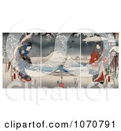 Royalty Free Historical Illustration Of A Geisha Woman In A Gown And A Man Holding An Umbrella In A Snowy Landscape