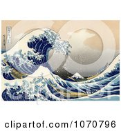 Royalty Free Historical Illustration Of A Tsunami Wave Near Mount Fuji The Great Wave Off Kanagawa By Katsushika Hokusai by JVPD #COLLC1070796-0002