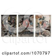 Royalty Free Historical Illustration Of Japanese Actors And Actresses As Lions Tigers And Elephants