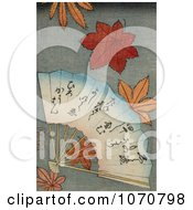 Royalty Free Historical Illustration Of A Hand Fan With Maple Leaves