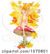 Clipart Autumn Fairy Sitting On A Mushroom Royalty Free Vector Illustration by Pushkin