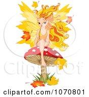 Clipart Autumn Fairy Sitting On A Mushroom Royalty Free Vector Illustration