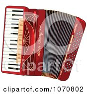 Clipart Red Accordion Royalty Free Vector Illustration by Pushkin