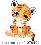Clipart Cute Sitting Baby Tiger Royalty Free Vector Illustration by Pushkin