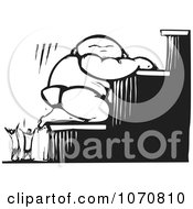 Clipart Woodcut Baby Climbing Stairs Royalty Free Vector Illustration