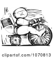Clipart Woodcut Baby Riding A Trike Royalty Free Vector Illustration by xunantunich