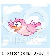 Pink Bird In Flight