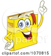 Clipart Yellow Book Character With An Idea Royalty Free Vector Illustration