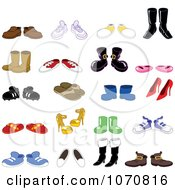 Clipart Many Pairs Of Shoes Royalty Free Vector Illustration