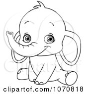 Clipart Outlined Sitting Baby Elephant Royalty Free Vector Illustration by yayayoyo