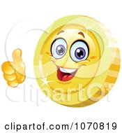 Clipart 3d Thumbs Up Coin Character Royalty Free Vector Illustration
