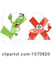 Clipart Check And X Mark Characters Royalty Free Vector Illustration