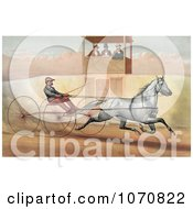 Illustration Of A Panel Of Three Judges In A Tower Watching A Man Racing A Horse Royalty Free Historical Clip Art by JVPD