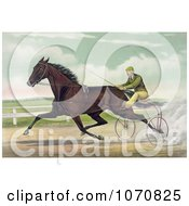 Illustration Of A Man Racing A Horse On A Two Wheel Sulky Royalty Free Historical Clip Art by JVPD