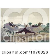 Illustration Of Two Competitive Men Racing Their Horses Down A Street With A Dog Running Along The Side Royalty Free Historical Clip Art by JVPD