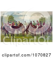 Illustration Of A Group Of Jockeys On Their Horses Royalty Free Historical Clip Art by JVPD