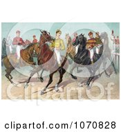 Illustration Of A Group Of Seven Jockeys On Horseback Ready For A Race Royalty Free Historical Clip Art by JVPD #COLLC1070828-0002