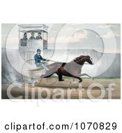 Illustration Of Dan Mace Racing And Driving Trotting Horse Judge Fullerton Royalty Free Historical Clip Art by JVPD