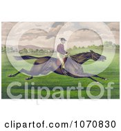 Illustration Of A Jockey Riding On The Back Of A Brown Gelding Leaping Across A Grassy Field Royalty Free Historical Clip Art by JVPD
