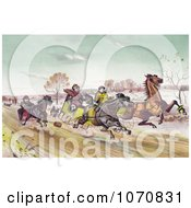 Illustration Of A Man Woman And Senior Man Racing Horses Down A Street In Winter Royalty Free Historical Clip Art by JVPD